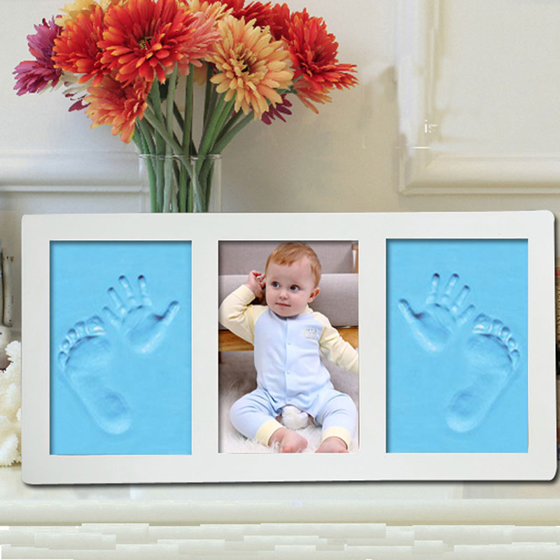 Baby Photo Frame Hand Foot Print Mold Maker 3D DIY Kits Soft Clay Inkpad Footprint Fingerprint Mud Set Baby Souvenir Infant Gift