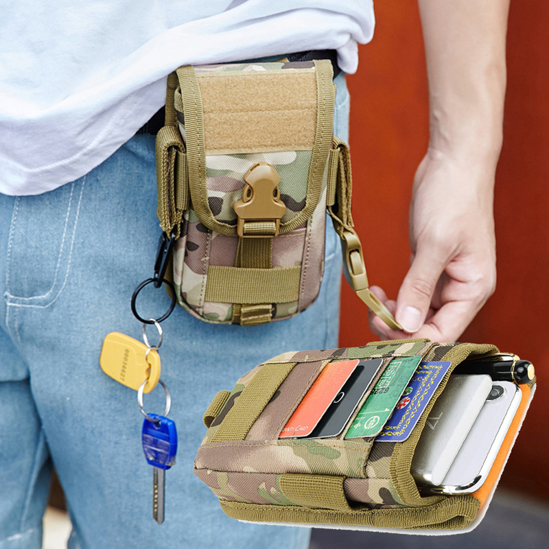Tactical Belt Bag Military Molle Pouch Men Camouflage Outdoor Hiking Travel Portable Large Capacity Mens Phone Case Card Holder