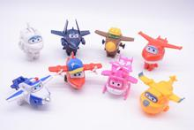 8Pcs/set MINI Anime Super Wings Model Mini Planes toy Transformation Airplane Robot Action Figures superwings toys for children i wonder why planes have wings