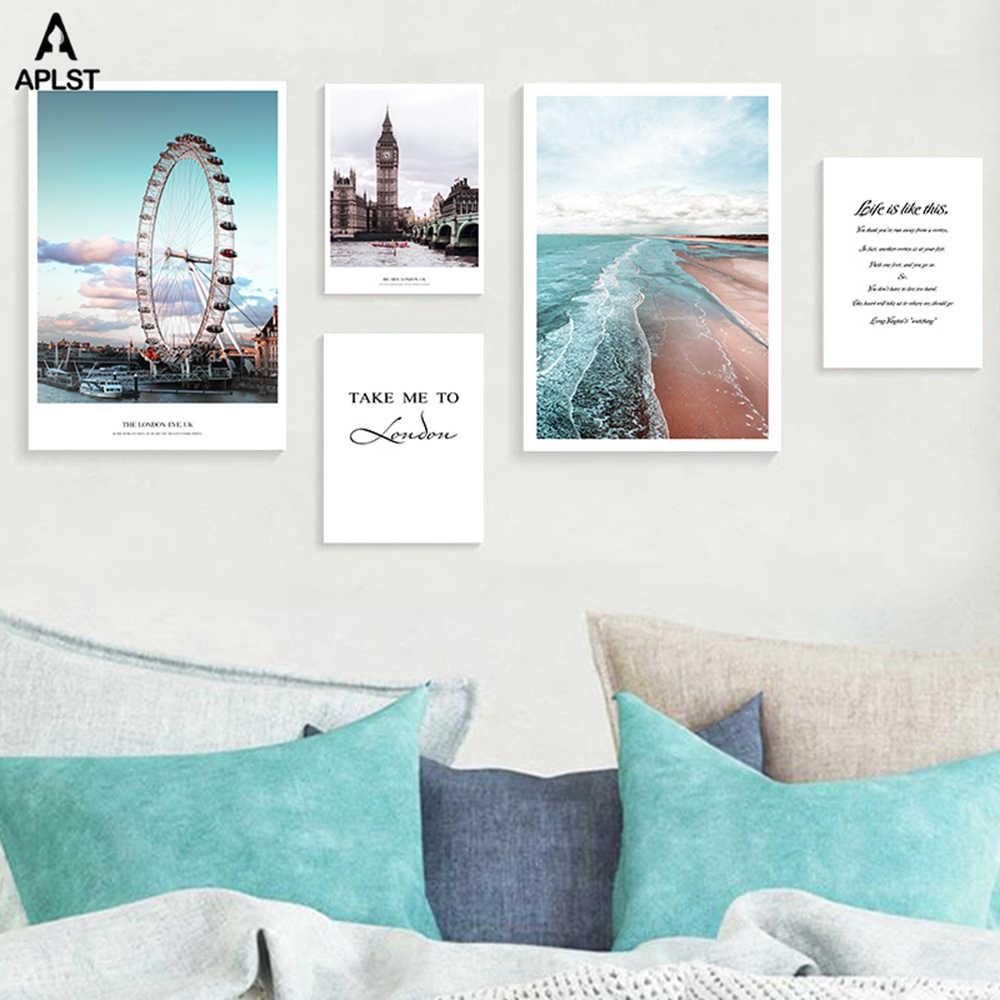 London Eye diabelski młyn na płótnie malarstwo Big Ben morze plaża drukuje plakaty życie cytat obraz ścienny do salonu wystrój pokoju
