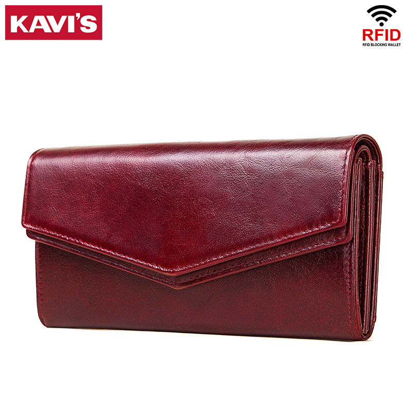 KAVIS High Capacity Genuine Leather Wallet Female Coin Purse Women Portomonee Clutch Clamp Money Bag Card Holders Handy Perse