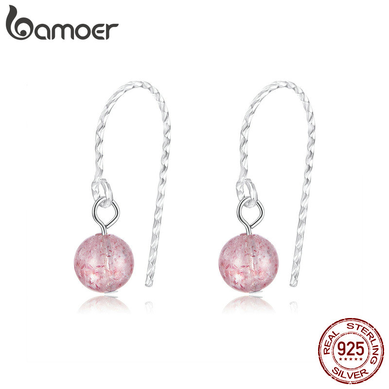 Bamoer Pink Quartz Crystals Beads Earrings For Women Strawberry Natural Stone Dangle Earring 925 Sterling Silver Jewelry BSE209