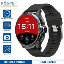 """KOSPET Prime 3GB 32GB Android montre intelligente hommes double caméra 1260mAh 1.6 """"visage ID 4G GPS Smarwatch pour IOS Android Xiaomi téléphone"""