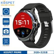"""Kospet relógio smartwatch prime masculino, relógio inteligente, 3gb, 32gb, android, dual câmera, 1260mah, face id, 4g, 1.6 """"smarwatch com gps para ios e android, xiaomi"""