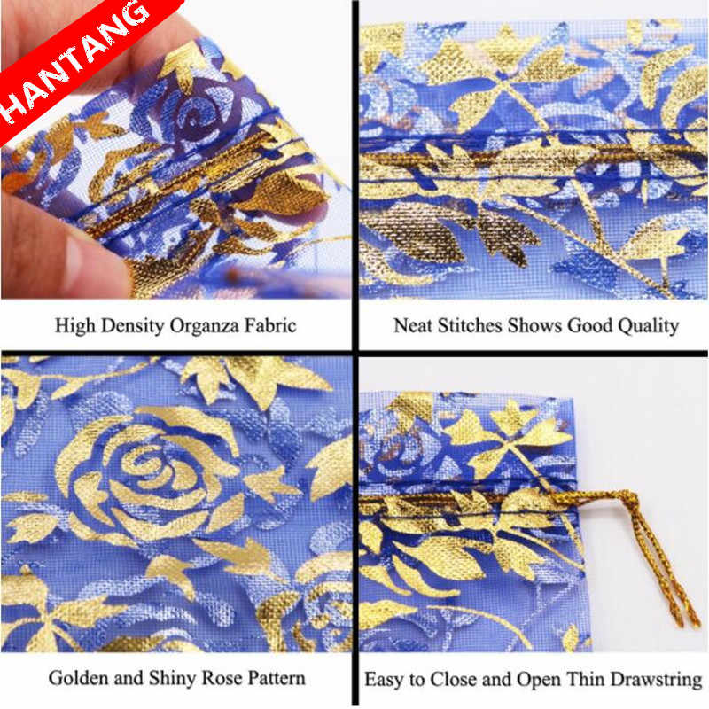 wholesale 100pcs 5color Bronzing Rose Christmas Wedding voile Organza Bags Jewelry packaging Gift7*9 9*12 11*16 13*18 15*20cm 5Z