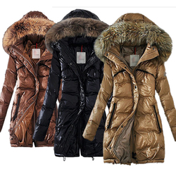 Women's parkas wool collar thickened large size slim down cotton padded coat S to 2XL