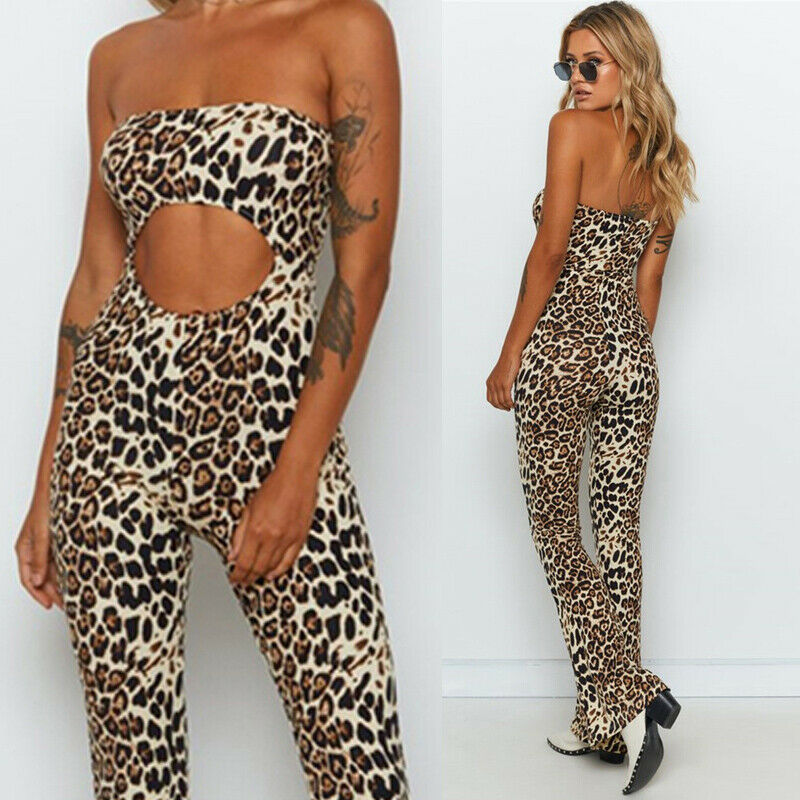Summer Women Sexy Leopard Print Strapless Sleeveless Print Casual Long Jumpsuit Club Party Wide Leg Pants Stretch Rompers