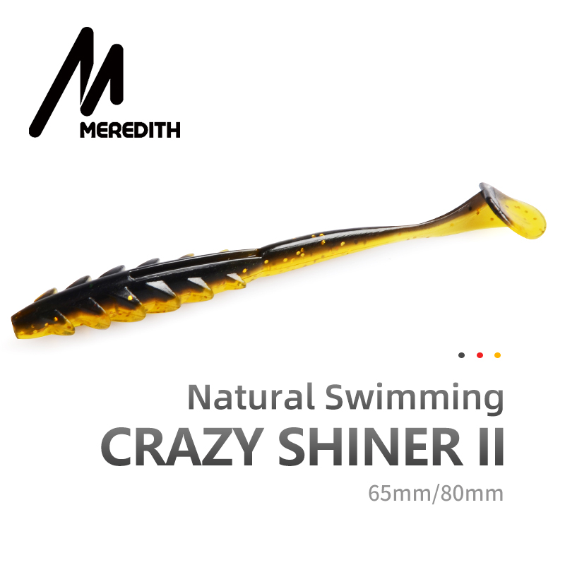MEREDITH Crazy Shiner II Soft <font><b>Lure</b></font> 65mm 80mm Fishing <font><b>Lure</b></font> Shad <font><b>Silicone</b></font> Baits <font><b>T</b></font>-<font><b>tail</b></font> Wobblers Swimbait Artificial leurre souple image