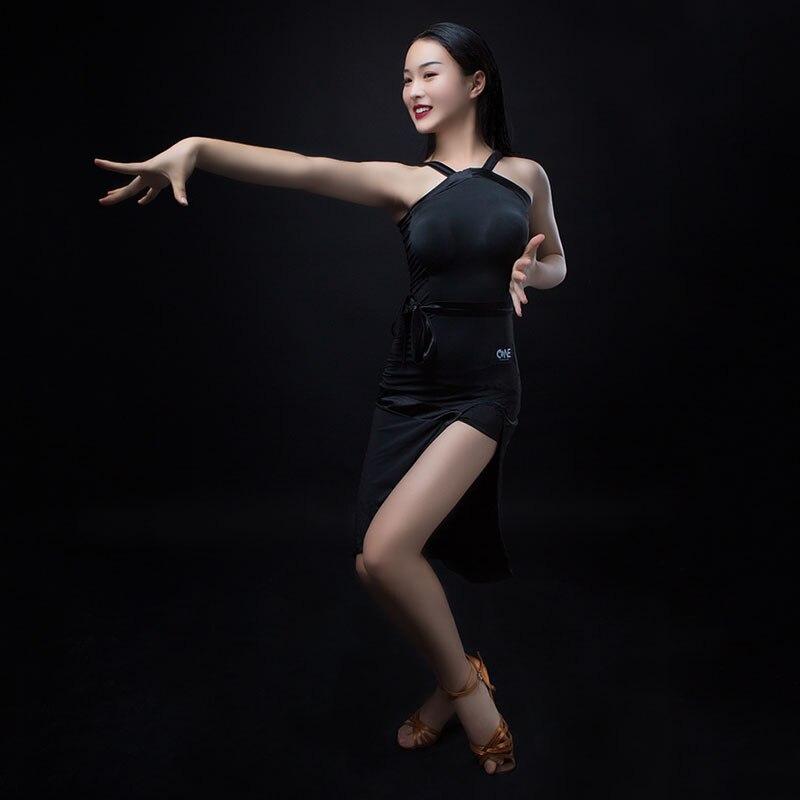 Black Latin Dance Dress Women Tango Salsa Cha Cha Ballroom Samba Rumba Practice Wear Ladies Rave Performance Outfit DC3690