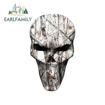 EARLFAMILY 13cm x 7.7cm For Winter Camo Hunting Skull Car Bumper Window Stickers Vinyl Wrap Graffiti Sticker Motorcycle Stickers image