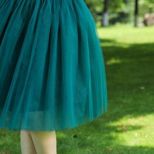 Image 5 - 7 Layered Tulle Skirts Womens High Waist Swing Dolly Ball Gown Underskirt Mesh Tutu 2020 Summer Midi Skirt Faldas Saias Jupe