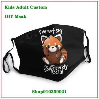 Unique Fashion masque en tissu lavable enfant Selectively Social Anti Social Kawaii Funny Shy Red Panda Racoon cloth face masks
