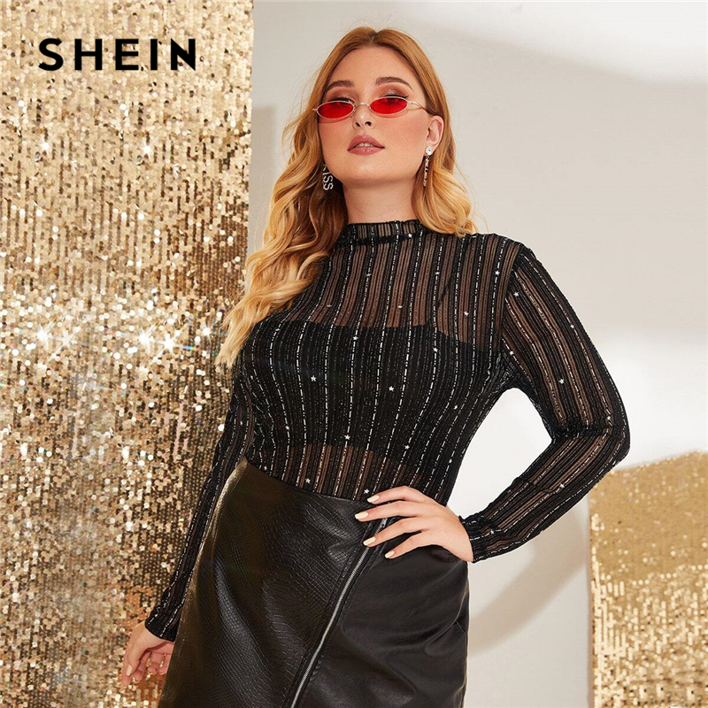 SHEIN Plus Size Glitter Striped Sheer Mesh Top Without Camisole Women Spring Stand Collar Long Sleeve Glamorous Sexy T-shirts