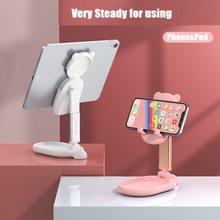 Bonito espelho desktop titular do telefone celular ajustável dobrável estender suporte de mesa móvel tablet suporte para maquiagem