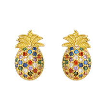 2020 Hot Sale Fashion pineapple Stud Earrings For Women Girl Gold Earring Colourful CZ Jewelry Gift
