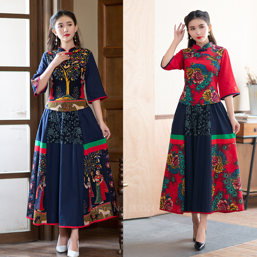 Women National Style Cheongsam Print Linen Slim Qipao Dress Vintage Elegant Buckle Tang Suit Tratitional Chinese Tops Skirt 5XL