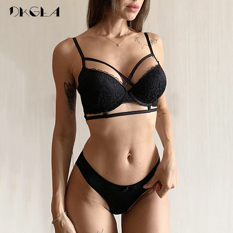 Top Sexy Underwear Set Cotton Thin Brassiere Deep V Push up Bra and Panties Sets Black Lace Embroidery Bras Women Lingerie Set