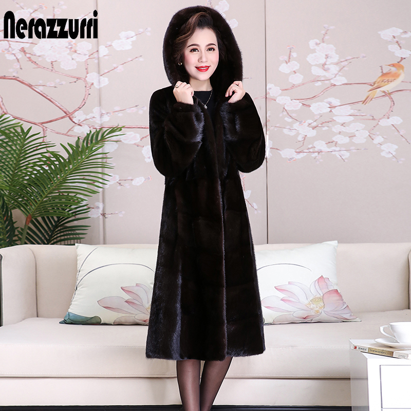 Nerazzurri Long Winter Real Mink Fur Coat With Hood Long Sleeve Black Thick Warm Whole Mink Coats Women Plus Size Mink Jacket