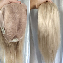 #60 Color Ash Blonde Indian Remy Hair Topper Women Toupee Mono Wig Straight 16*18cm Hairpiece With PU Clips For Women 8-20inch