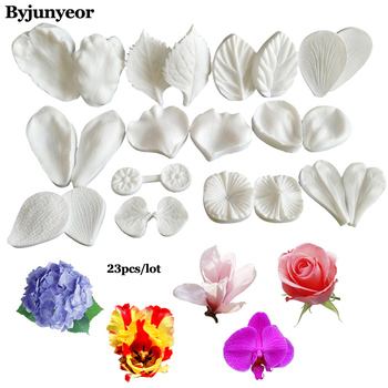 23 шт цветок лепесток силиконовый вейнер для фаленопсис, Гортензия, роза, магнолия, хризантема, гардения, лилия сахар Weding MoldC268