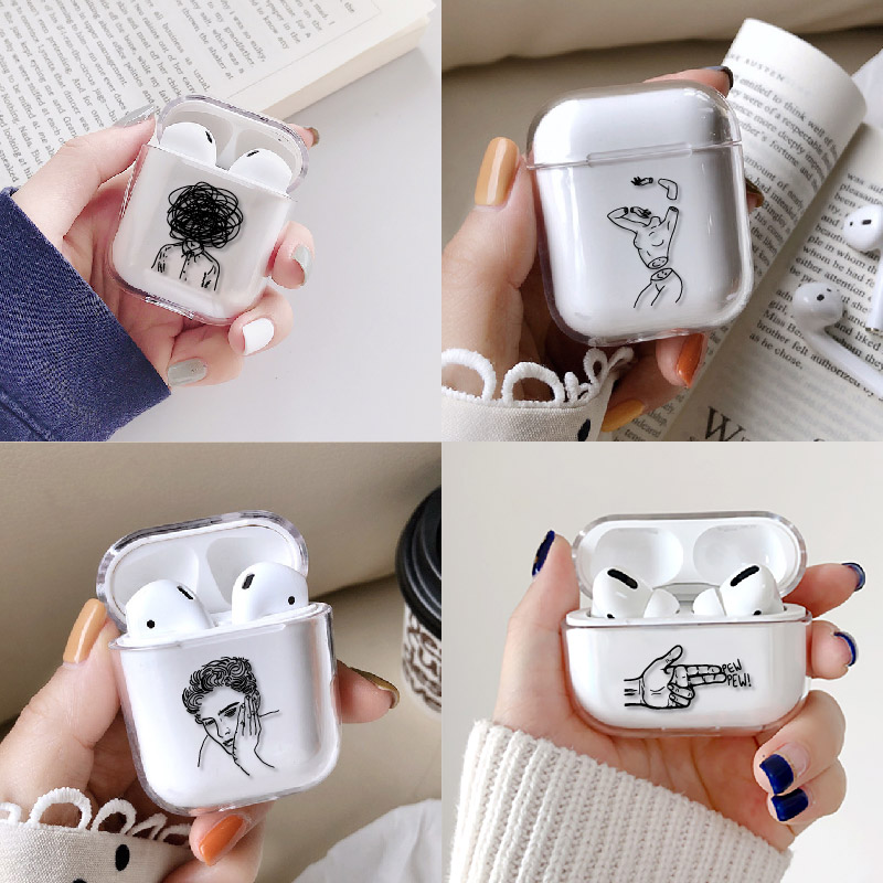Sexy Art Rose Lover Girl Harajuku Earphone Case For Apple iPhone Charging Box For AirPods Pro Hard Protective Cover Accessories