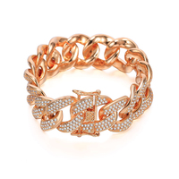 Big Luxury Top Quality Cubic Zirconia Bracelets & Bangles For Women Men Wedding Party New Trendy Rose Gold Hip Hop Jewelry 2019