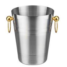 Sztabka ze stali nierdzewnej wiaderko z lodem dwa uchwyty wiadro szampana złote wiaderko na wino pluć beczka na wino pojemnik klub karaoke akcesoria barowe tanie tanio supple CN (pochodzenie) Wiadra lodu i szczypce Ce ue Lfgb STAINLESS STEEL Ekologiczne Zaopatrzony C0070