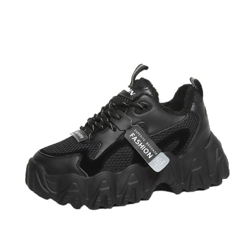 Winter Velvet Warm Snow Shoes Comfortable Women Breathable Sneakers 5CM Flat Heels Fur Shoes Platform Cotton Casual Shoes Woman