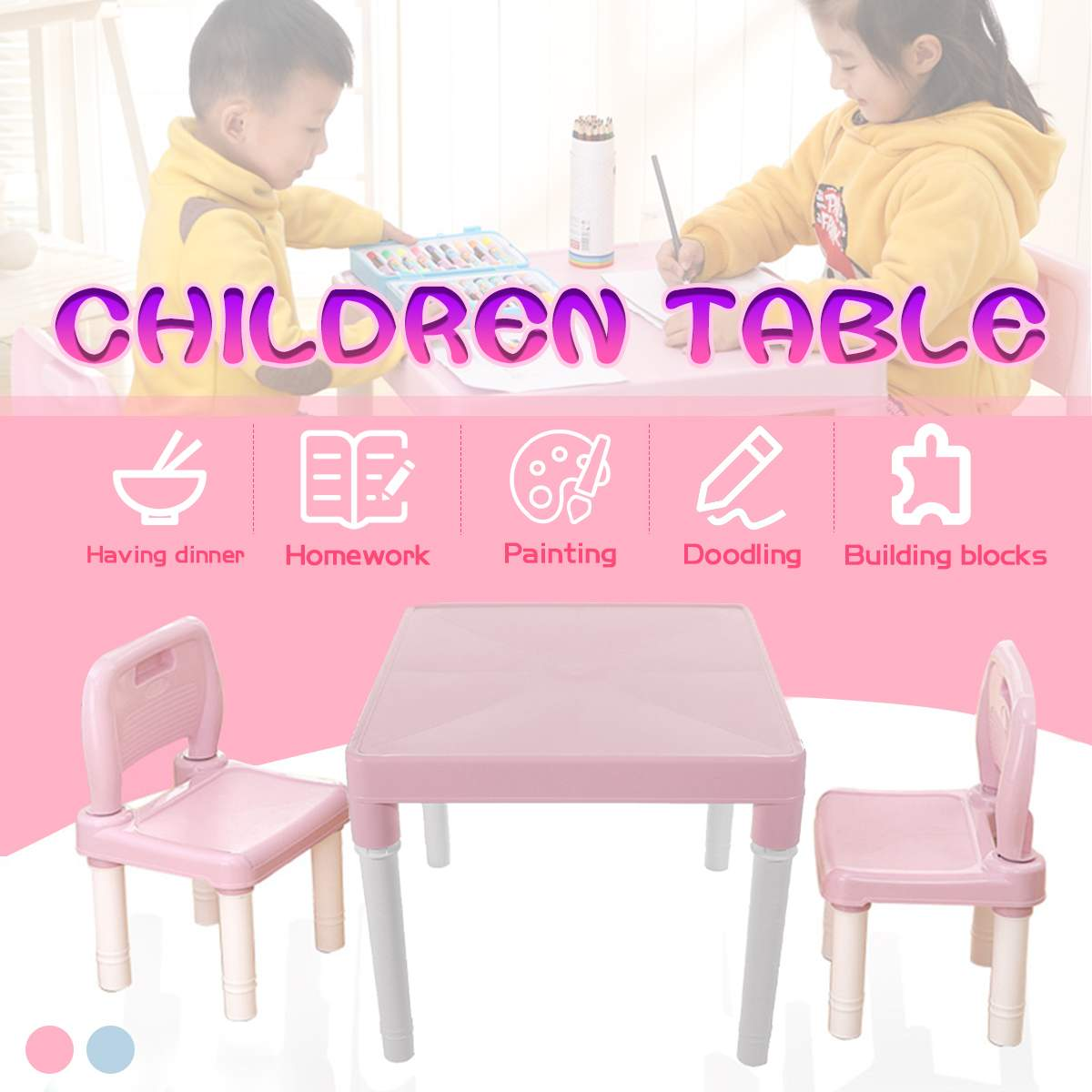 Folding Table Chairs Set For Children  Kids Gaming Learning Tables Chair Plastic Table Cute Toy Game Table Desk For Girs Boys
