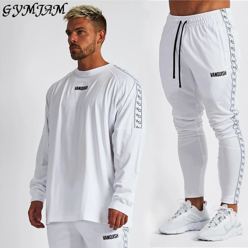 Streetwear Casual Men's Clothing 2020 Fashion Men's Long-sleeved T-shirt + Men's Trousers Brand Sportswear Fitness Men's Suit