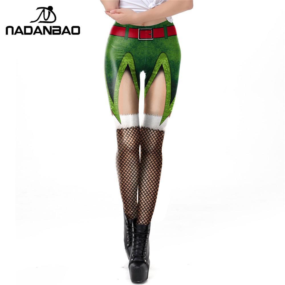 NADANBAO Christmas Elf Leggings Women Carnaval Costume Leggin St Patrick's Day Xmas Pants 3D Printed Fitness Legins