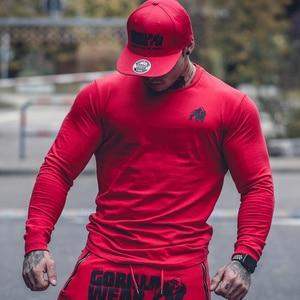 Image 4 - Décontracté à manches Longues En Coton T shirt Hommes Gym Fitness Musculation Entraînement Maigre T shirt Homme T shirt à Imprimé Hauts Marque Sportive Vêtements