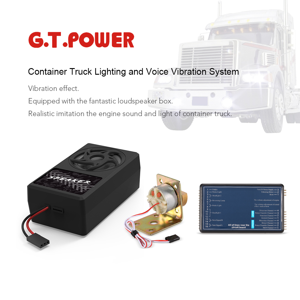 Original G.T.POWER Container Truck Lighting and Voice Vibration System for Tamiya RC4WD Tractor RC Truck Parts