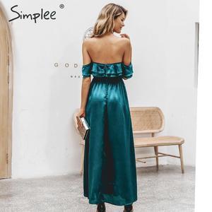Image 4 - Simplee Sexy off schulter lange party kleid Abendkleid hohe taille kräuselte grün kleid Damen herbst winter chic vent satin kleid