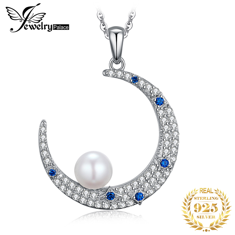 JPalace Moon Created Sapphire Pearl Pendant Necklace 925 Sterling Silver Gemstone Choker Statement Necklace Women Without Chain(China)