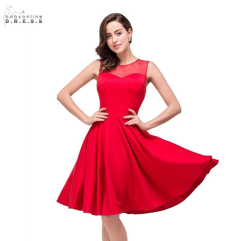 24 Hours Shipping Red Short Cocktail Dresses Sexy Illusion Mini Party Dresses Draped Vestidos Coctel Robe De Cocktail