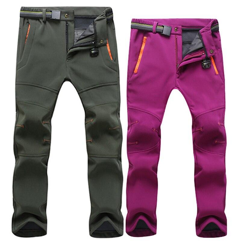 Stretch Waterproof Casual Pants Men Women Winter Warm Thick Fleece Shark Skin Trousers Male Sweatpants Softshell Cargo Pants