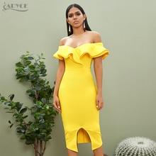 Adyce 2020 nouveau été Sexy hors épaule femmes robe de pansement volants Slash cou jaune blanc Club célébrité fête piste robes