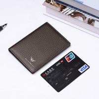 Mens Womens Genuine Leather ID Credit Card Holder RFID Blocking Wallet Slim Money Wallet Clip Card Case Purse