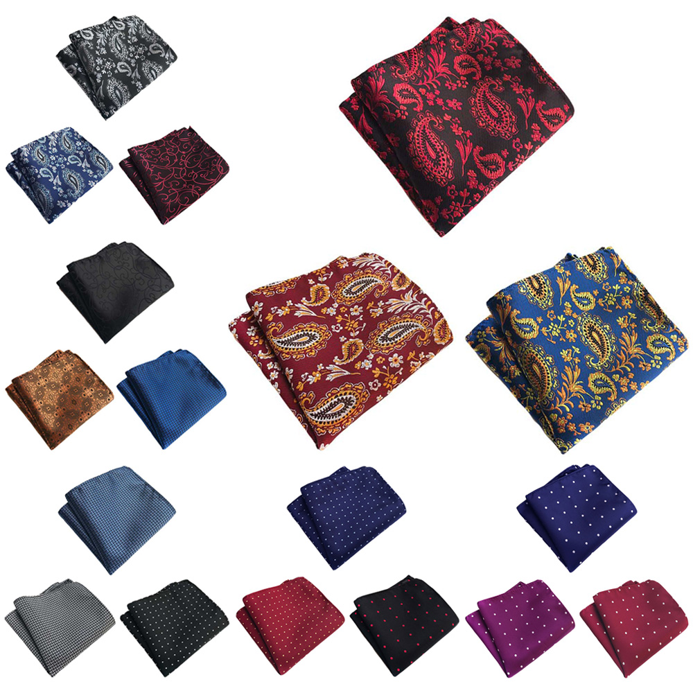 3 Packs Men Classic Polka Dots Paisley Pocket Square Wedding Party Handkerchief BWTHZ0369