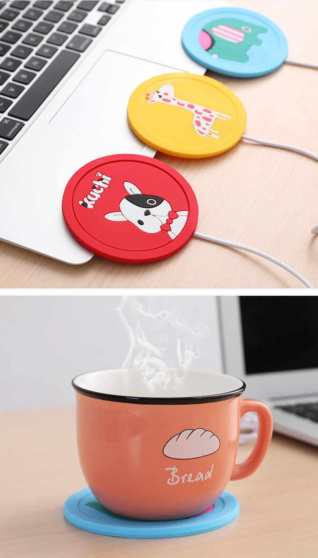 USB Kartun Asli USB Kayu Cangkir Hangat Panas Minuman Mug Mat Menjaga Minuman Hangat Pemanas Mug Coaster