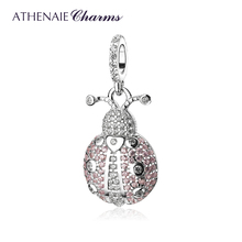 ATHENAIE Trendy 925 Sterling Silver Clear CZ Lucky Pink Ladybug Pendant Charms fit Women Bracelet Necklace DIY Jewelry Wihite