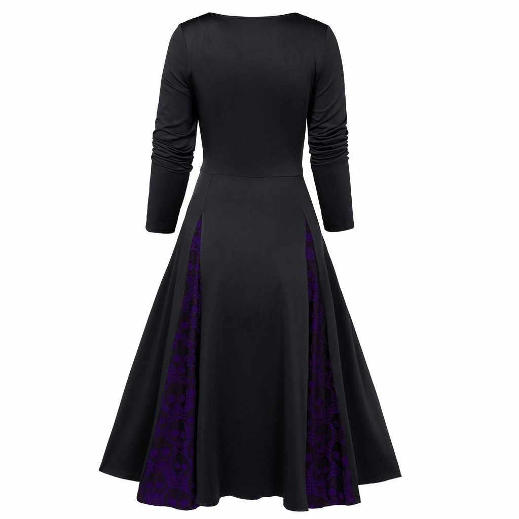 Gaun Baru Vintage Wanita Panjang Gaun Plus Ukuran Halloween Gothic Pakaian Tengkorak Renda Masukkan Mock Tombol Ikatan Simpul Gaun Jubah Femme