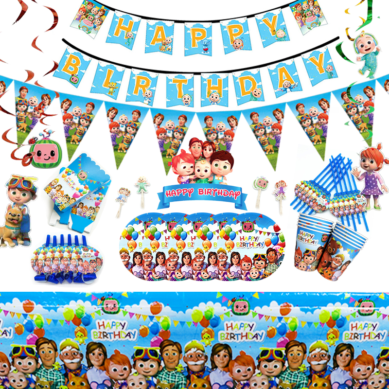 Cocomelon Birthday Party Decoration Children S Birthday Party Supplies Family Birthday Party Cartoon Party Tableware Straw Disposable Party Tableware Aliexpress