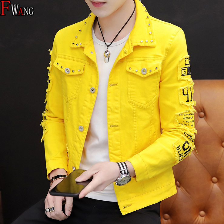 2019 Spring Cool Jeans Coat Men's Korean-style With Holes Cowboy Clothing Trend Social Fella Rivet Jacket Gown