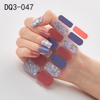 14pcs/sheet Glitter Gradient Color Nail Stickers Nail Wraps Full Cover Nail Polish Sticker DIY Self-Adhesive Nail Art Decoration 31