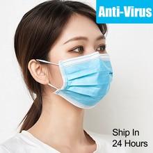 Face Mask Disposable Mouth Masks Anti Dust Virus Filter Breathable 3 Layers Meltblown Nonwoven 10pcs-100pcs