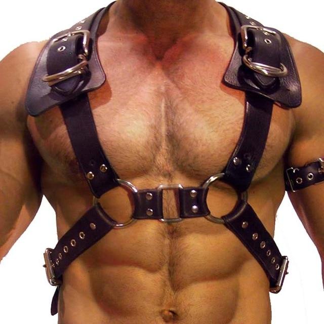 Модное мужское нижнее белье в готическом стиле панк для БДСМ, укороченный топ с регулируемой грудью, кожаные фиксаторы, фетиш, Клубная одежд...