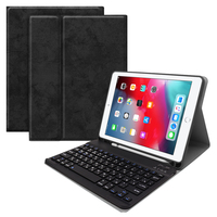 """case ipad For iPad 10.2"""" 2019 Russian Detachable Bluetooth Keyboard with Cloth Grain PU Leather Case Tablet Protective Cover and Pen Slot (1)"""