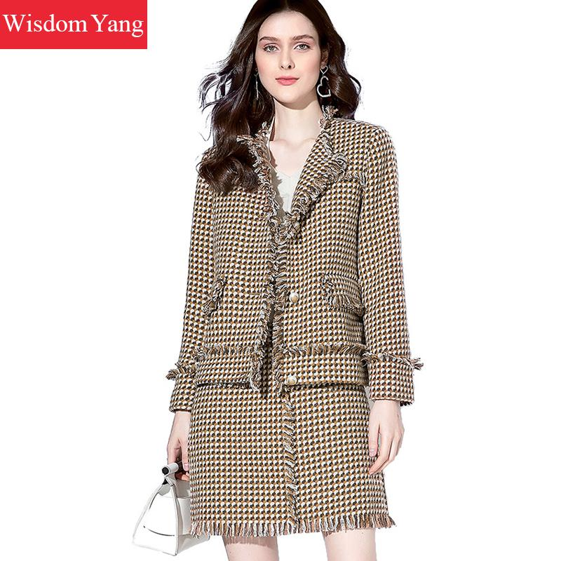2 Piece Set Autumn Winter Coat Women Sweed Sheep Wool Coats Coffee Plaid Overcoat Tassel Aline Mini Pencil Skirt Korean Clothes